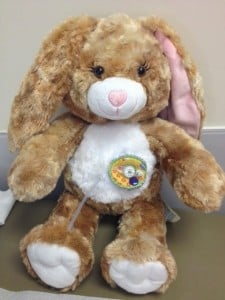 Stuffed animal with peritoneal dialysis catheter