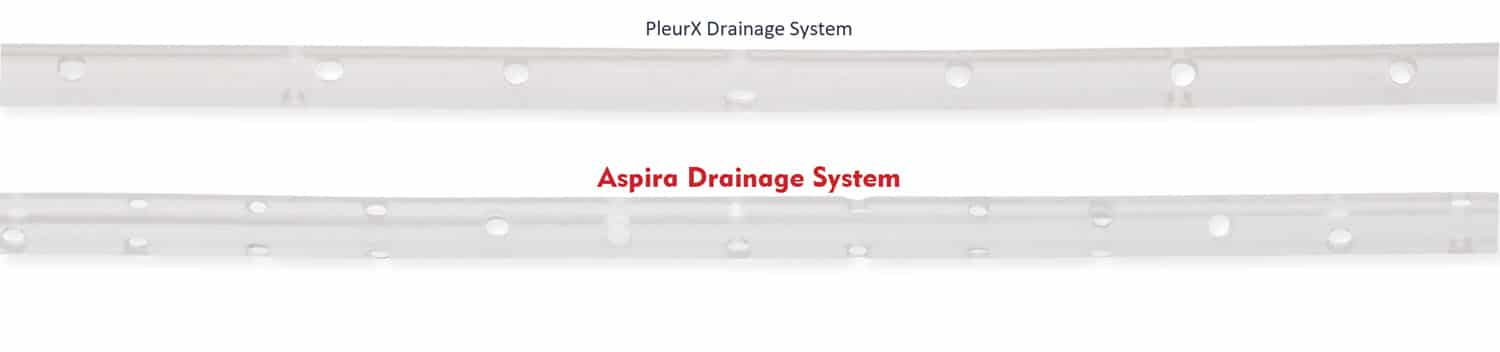 Aspira has a larger valve and more fenestrations than PleurX