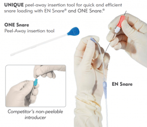 UNIQUE peel-away insertion tool for quick and efficient snare loading with EN Snare® and ONE Snare.®